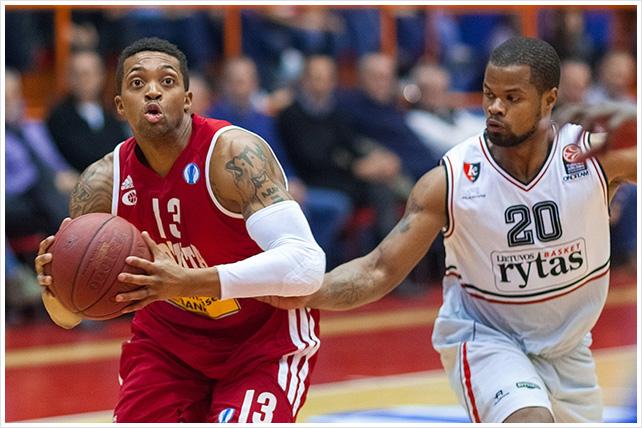 ZAGREB, CROATIA - JANUARY 15, 2014: Basketball Eurocup - Cedevita Zagreb VS Lietuvos Rytas Vilnius.